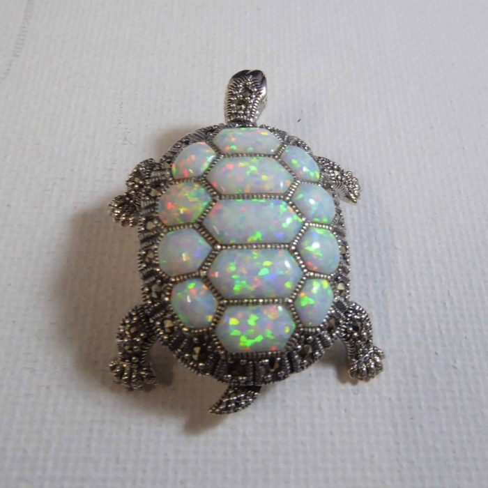Lovely silver, opal and marcasite pendant/brooch.
