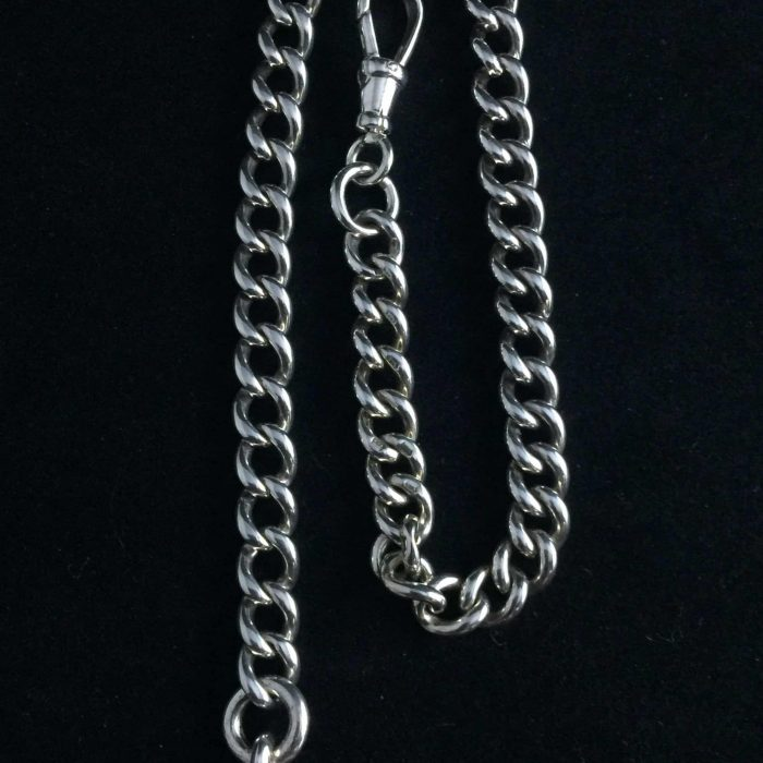 Silver single watch albert with swivel and t-bar.