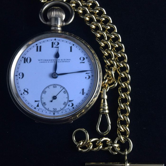 Lovely Quality Rold Gold Pocket Watch In Original Box(Greenwood Sons Leeds) Gold Coloured Metal Chain.