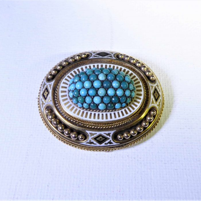 Beautiful 15ct gold, enamel and turquoise brooch.