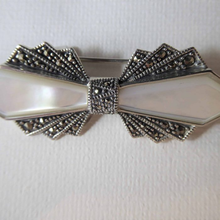 Silver Mother Of Pearl Marcasite Brooch