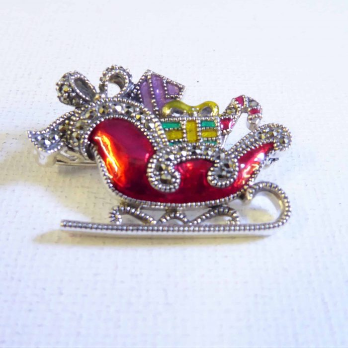 silver and marcasite sleigh brooch