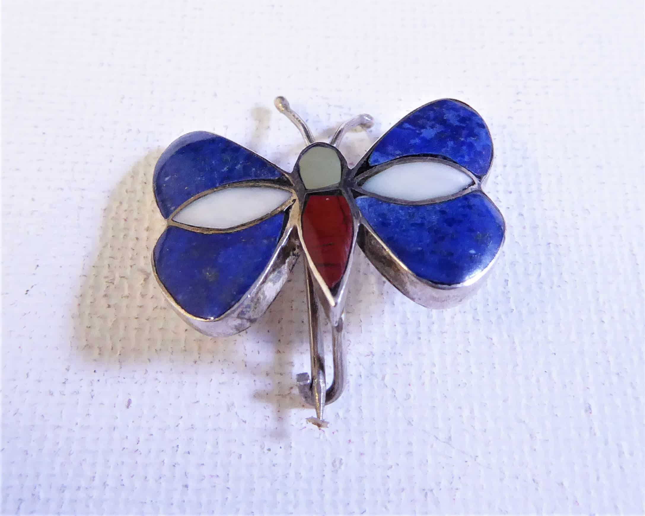 silver and lapis butterfly brooch
