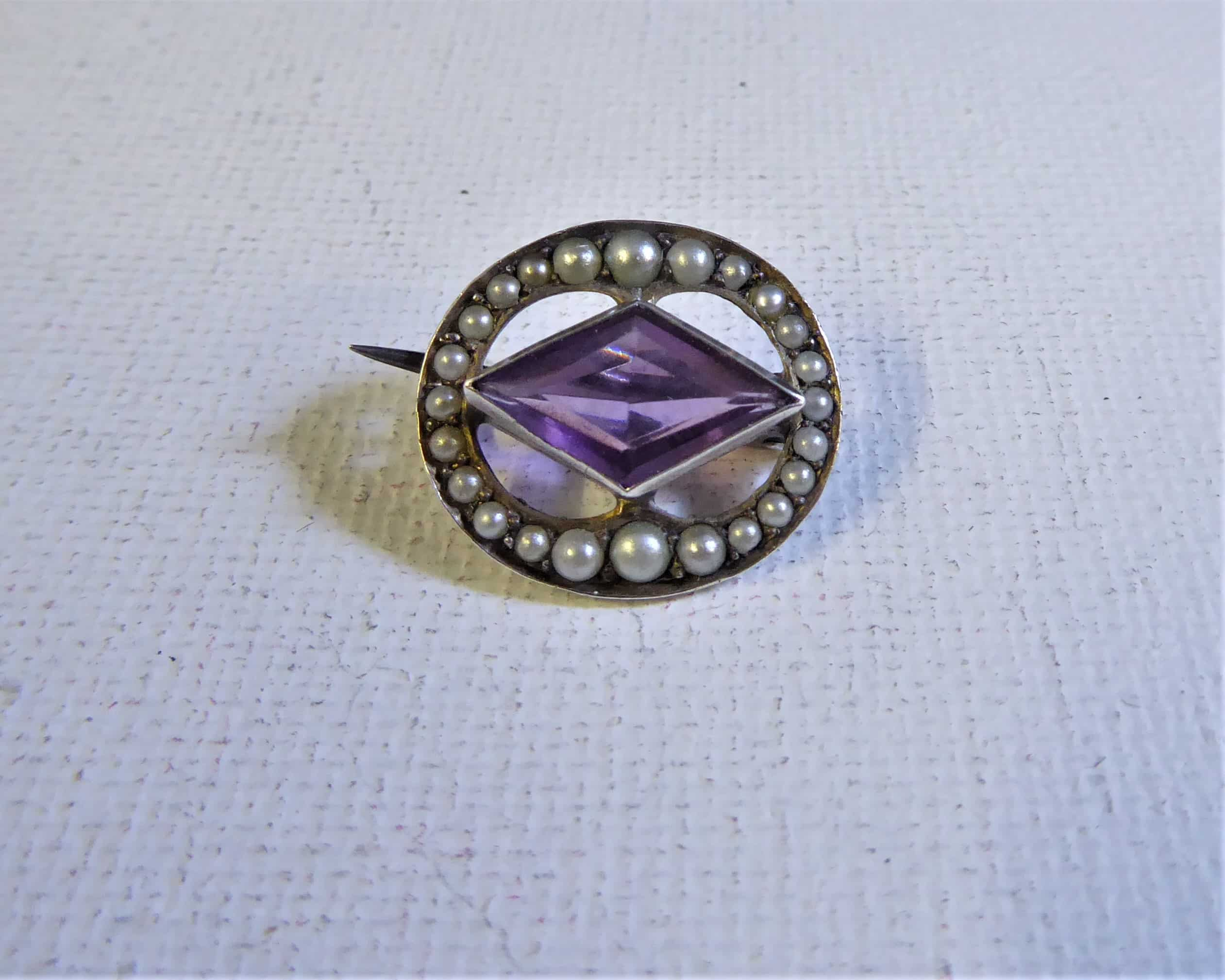 silver, seed pearl and amethyst brooch