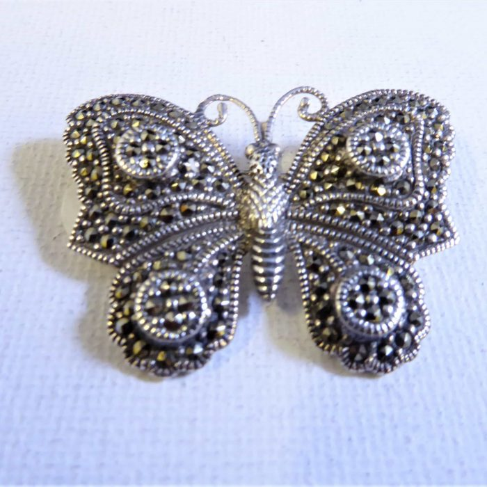 silver and marcasite butterfly brooch