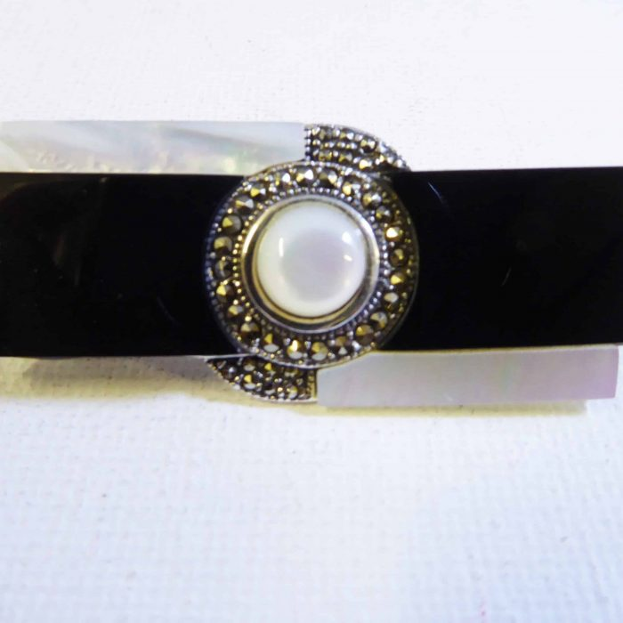 silver, marcasite onyx and marcasite brooch