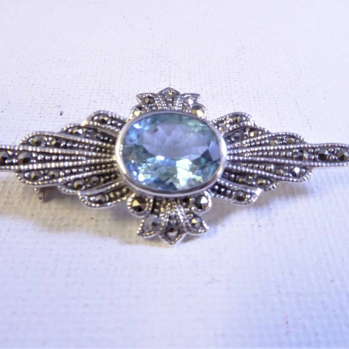 silver, blue topaz and marcasite brooch