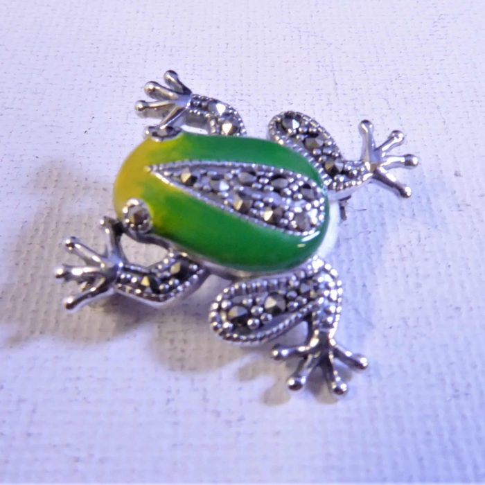 silver, marcasite and enamel frog brooch