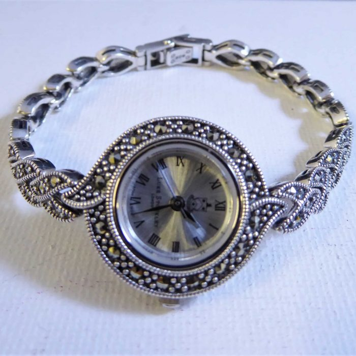 vintage style silver and marcasite watch
