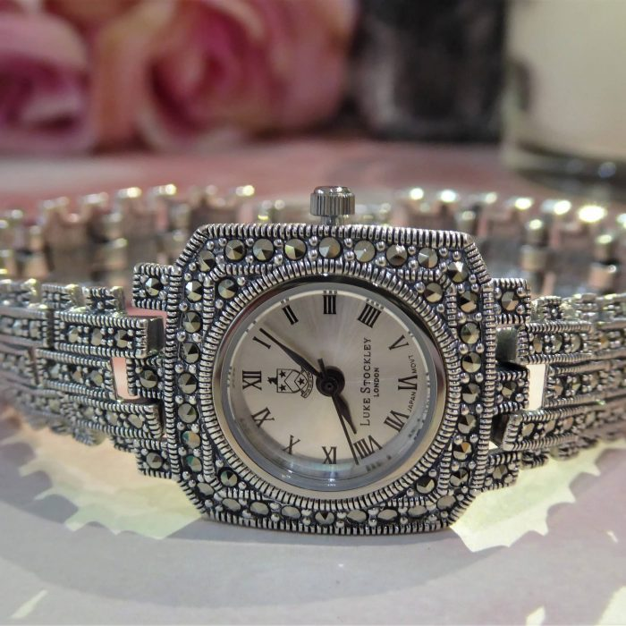 Silver and marcasite vintage style watch