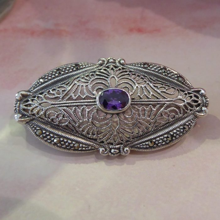 silver, marcasite and amethyst vintage style fancy brooch