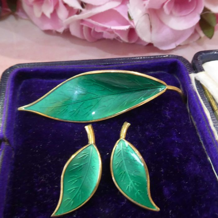 David Andersen silver gilt and enamel brooch and clip on earring set