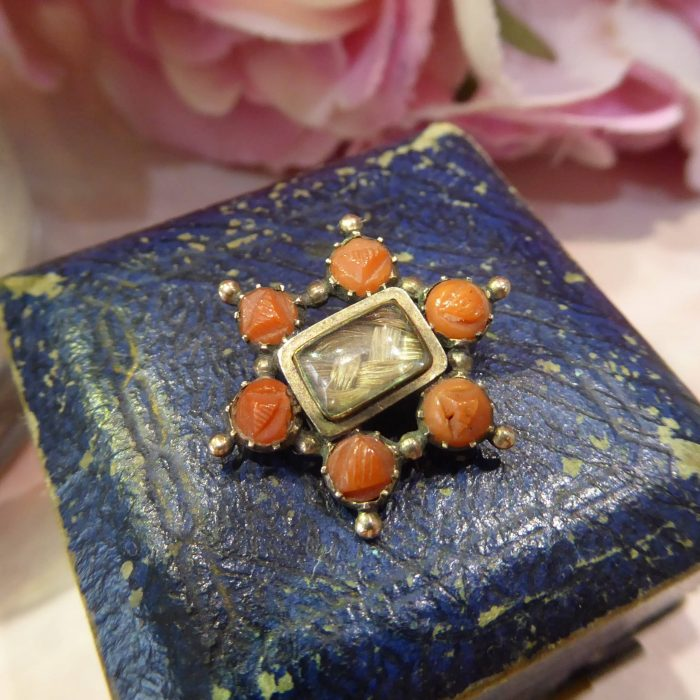 Georgian gold and coral mourning brooch, circa 1830s