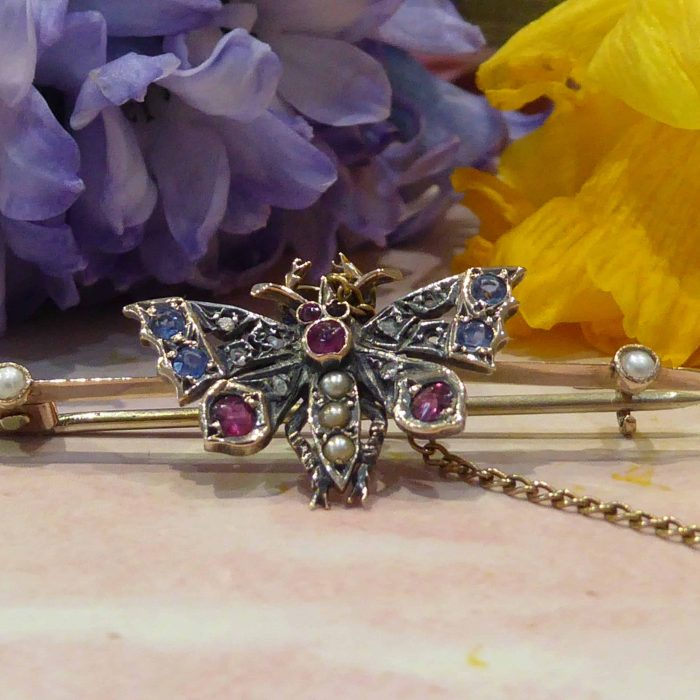 Victorian Gold Butterfly Brooch, Sapphire, Ruby, Seed Pearl, Diamond