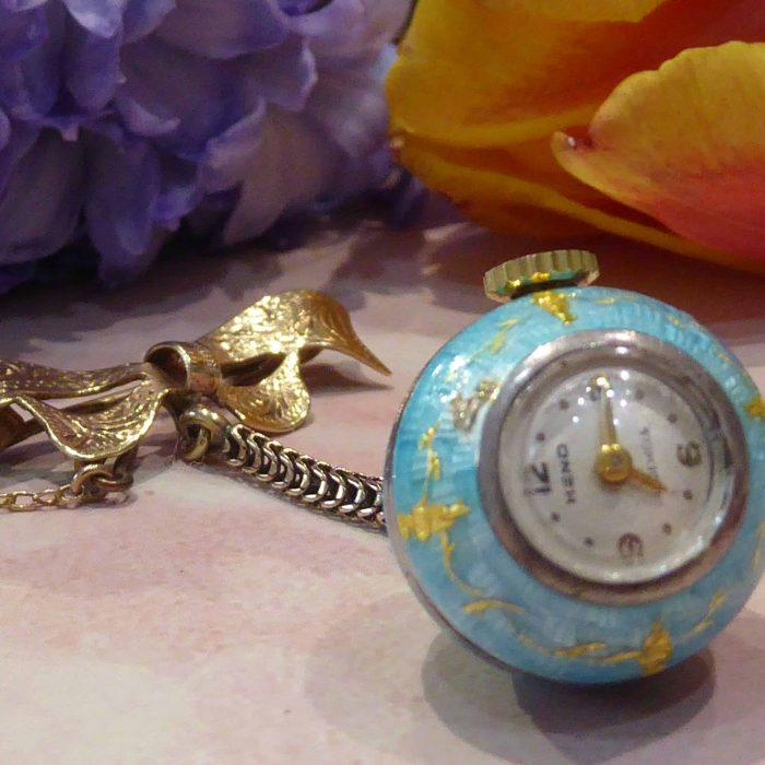 Vintage 9ct Gold and Silver, Enamel Ladies Fob Watch