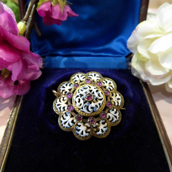 Antique Gold Brooch, Early Victorian, 18ct Gold, Ruby, Enamel.