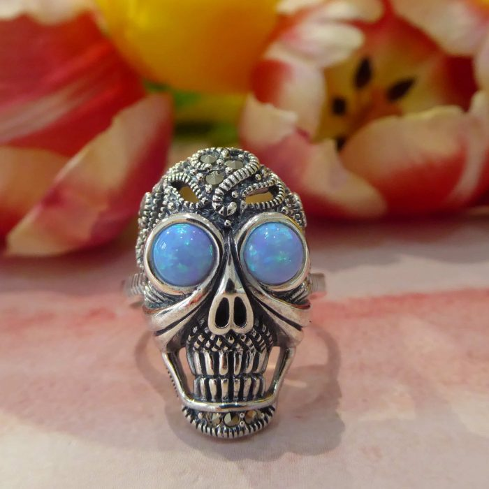 Silver, Opal and Marcasite Skull Ring